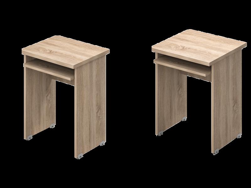 Egy oldalon kerekített asztal klav.tartóval, EK-SZG