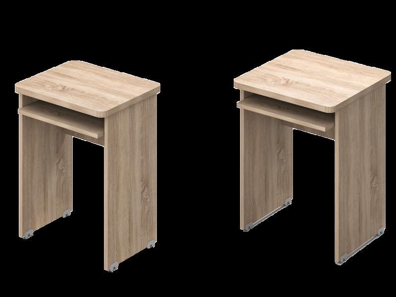 Két oldalon kerekített asztalok klav.tartóval, KK-SZG