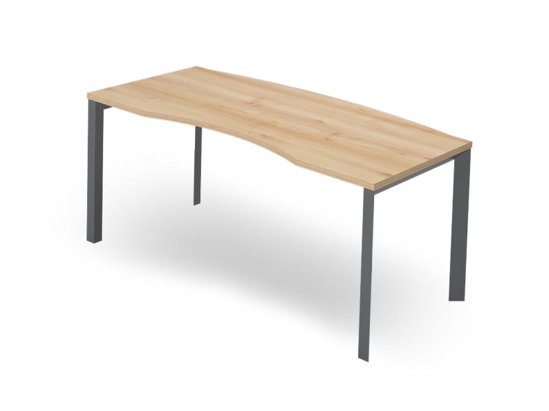 Vezetői íves íróasztal FL3 fémlábbal, VE-FL3