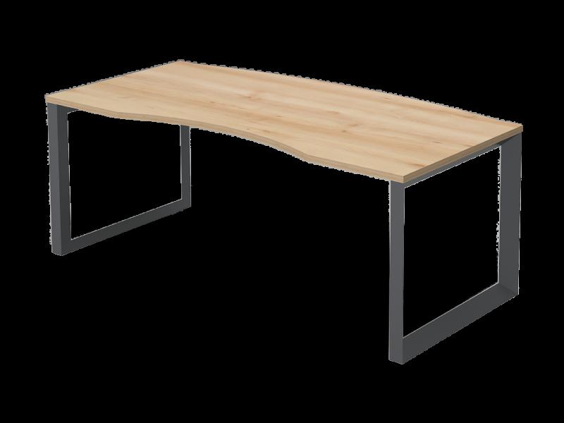 Vezetői íves íróasztal FL11 fémlábbal, VE-FL11