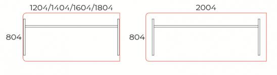 Egy oldalon kerekített íróasztal 804 mm-es mélységben, EK-80