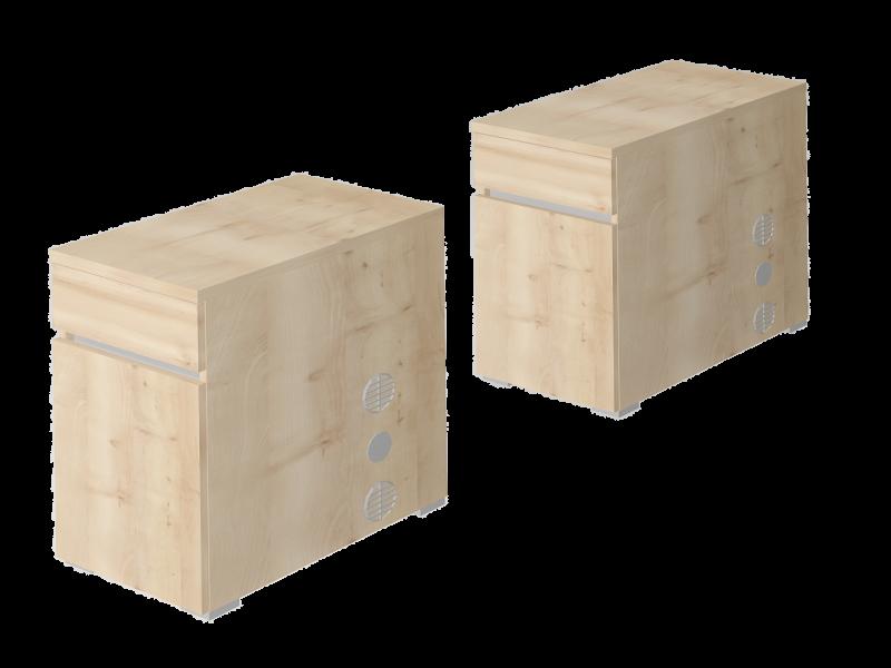 Asztalmagas fafiókos, ajtós konténerek, EX-1FA-J/B-AM