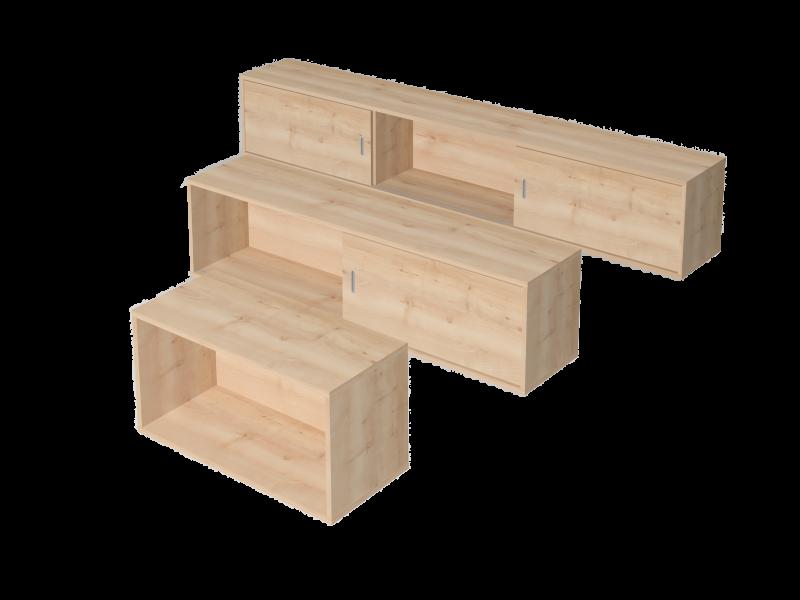 Tolóajtós-, nyitott fali szekrény, EX-F