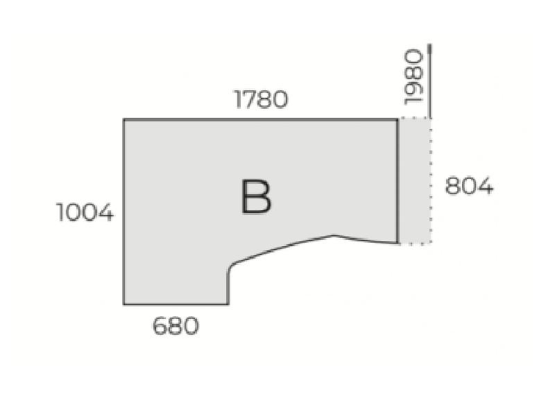 L-alakú íróasztal FL11 fémlábbal, HB-FL11