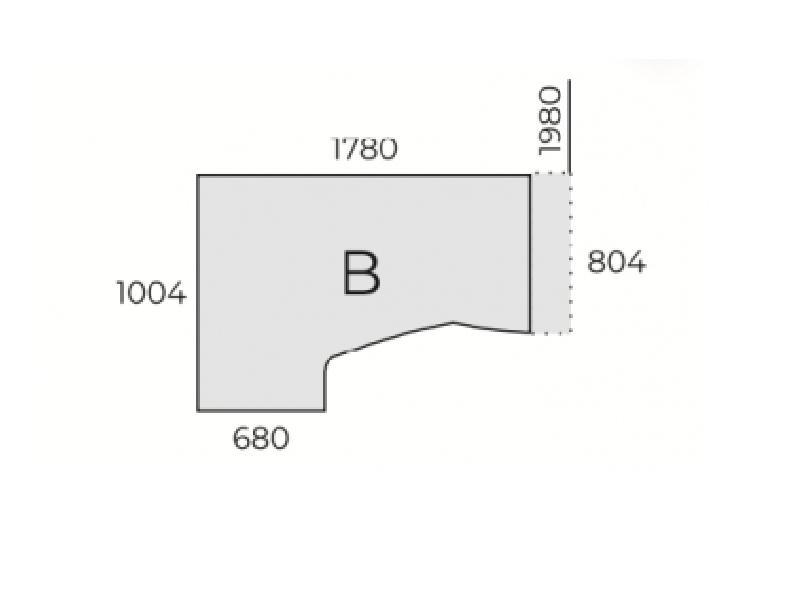 L-alakú íróasztal FL2 fémlábbal, HB-FL2