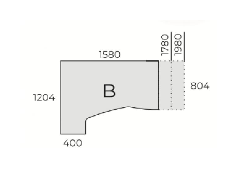 L-alakú íróasztal FL5 fémlábbal, homloklappal, HC-FL5