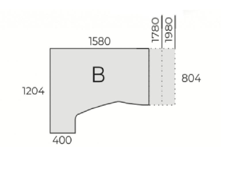 L-alakú íróasztal, HC