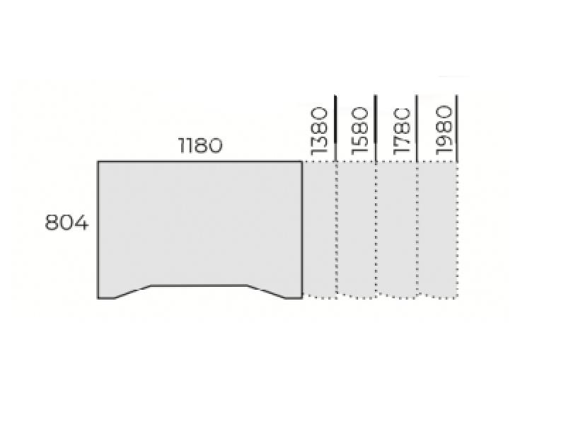 Állítható íves íróasztal FL7 fémlábbal, IZ-FL7