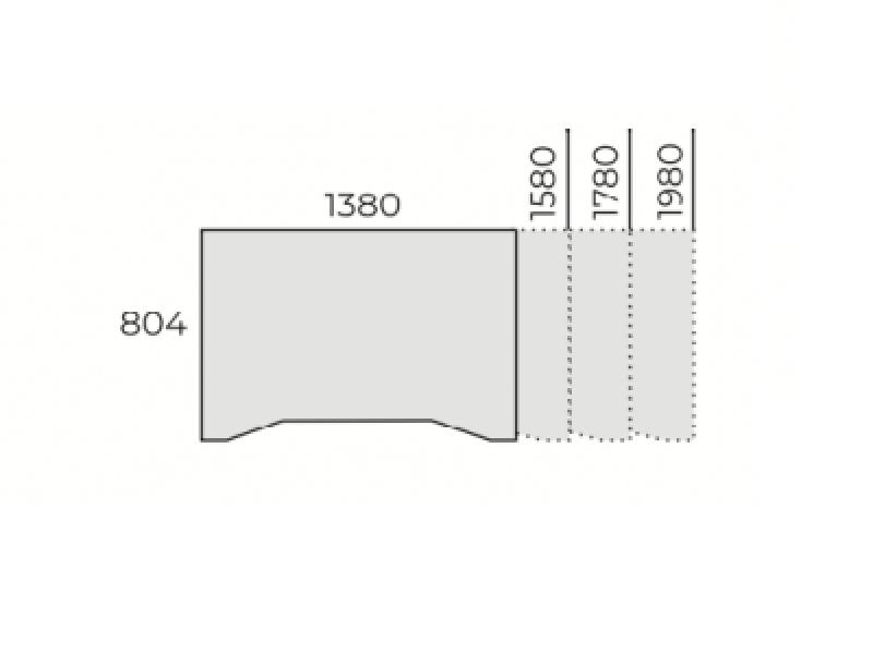 Elektromosan állítható íves íróasztal FL10 fémlábbal, IZ-FL10