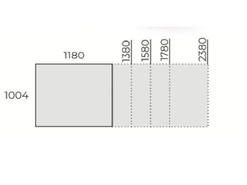 Szögletes tárgyalóasztal, TCK-118(-238)