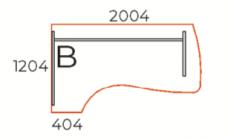 L-alakú íves íróasztal, FC-200-J/B