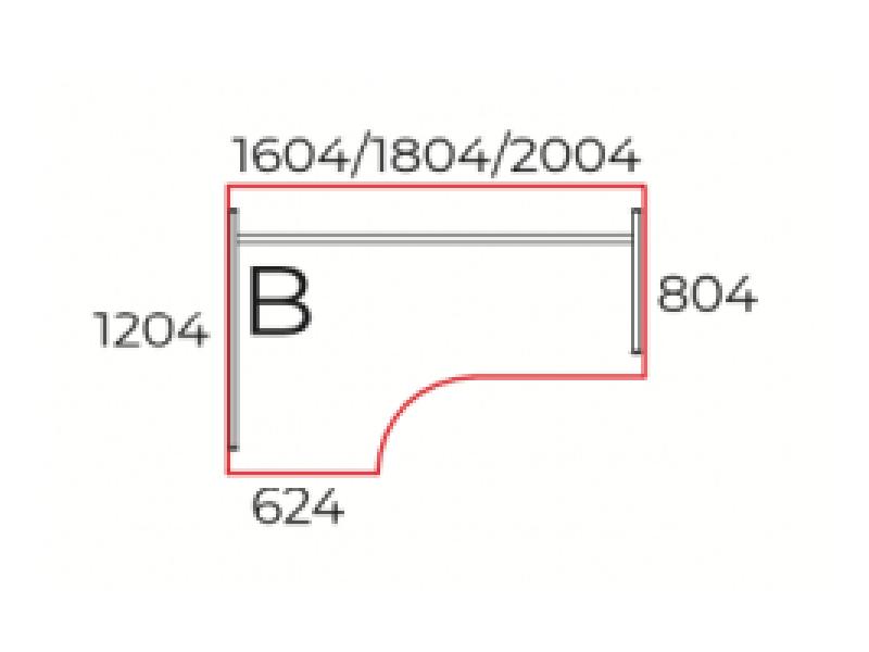 L-alakú íróasztal, GA-160-J/B