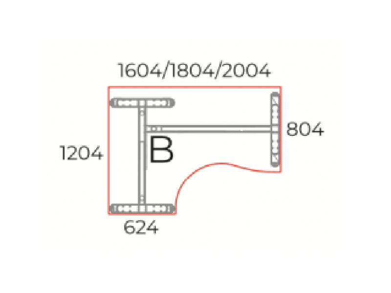 L-alakú íróasztal, GB-160-LUX