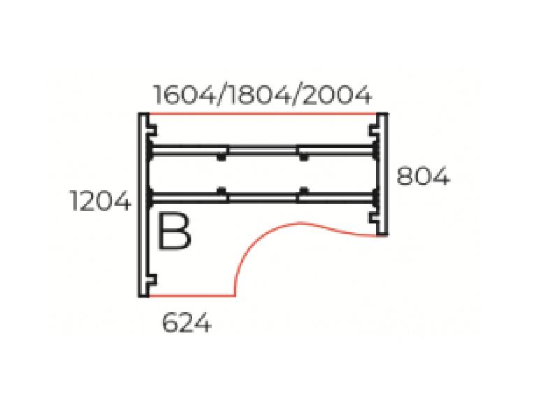 L-alakú íróasztal, GB-120-TR