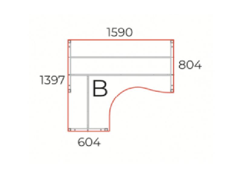 L alakú íróasztal, GB-160-COR