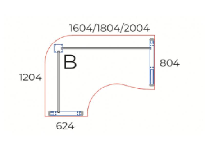 Sarkos L-alakú íróasztal, GC-160-AVA