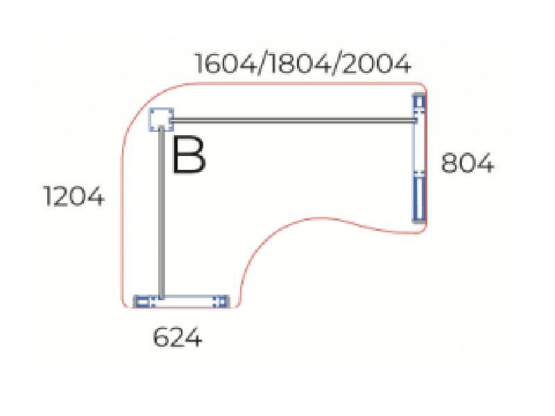Kerekített L-alakú íróasztal, GE-160-AVA