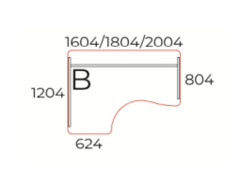 Kerekített íróasztal, GI-160-J/B
