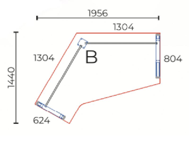 Sarkos L-alakú íróasztal, GL-195-AVA
