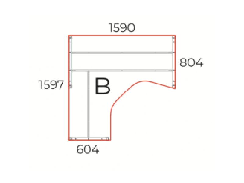 L alakú íróasztal, GM-160-COR