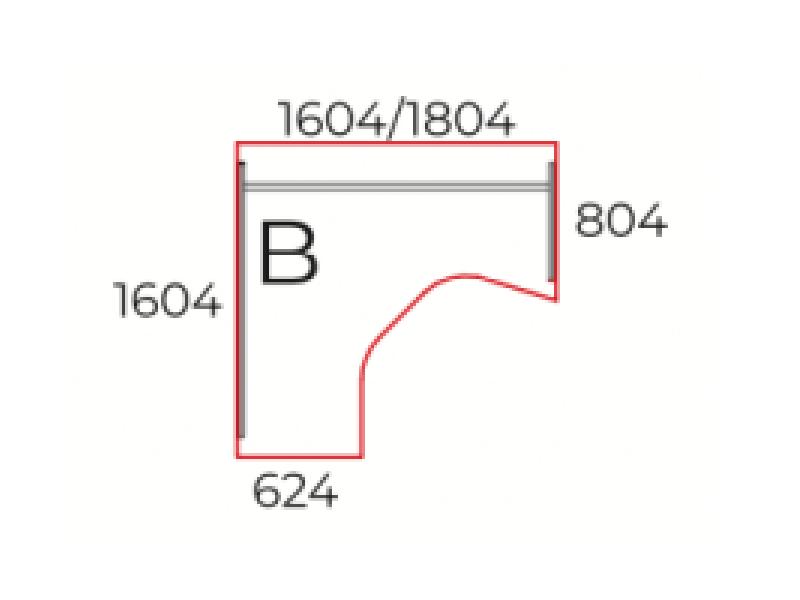 L-alakú íróasztal, GM-160-J/B