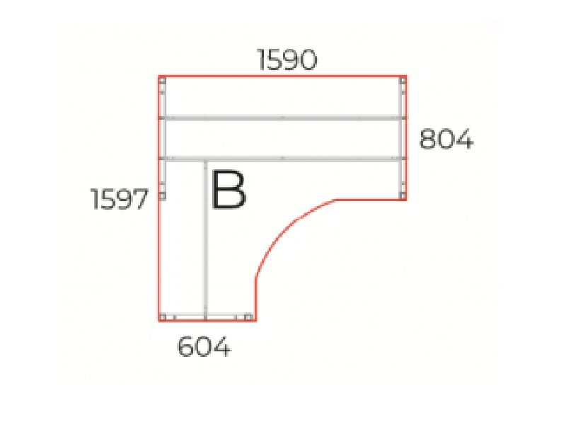 L alakú íróasztal, GS-160-COR
