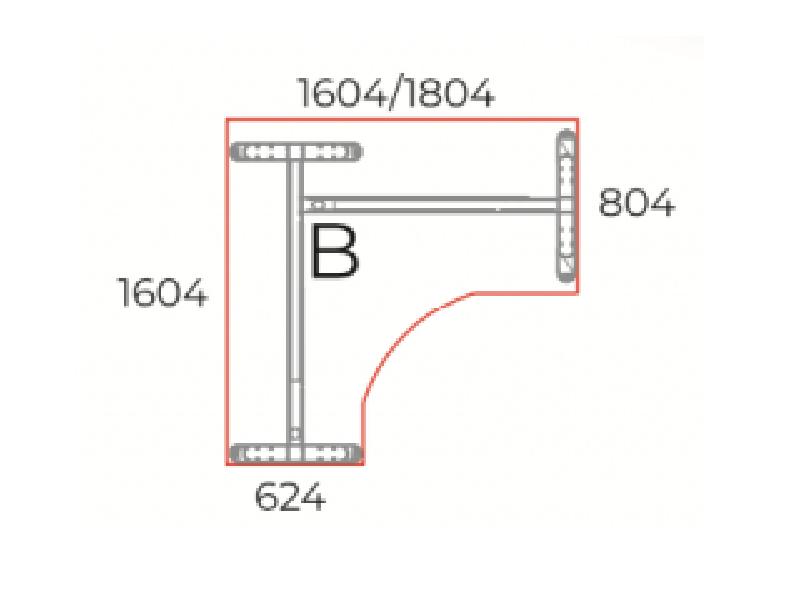 L-alakú íróasztal, GS-LUX
