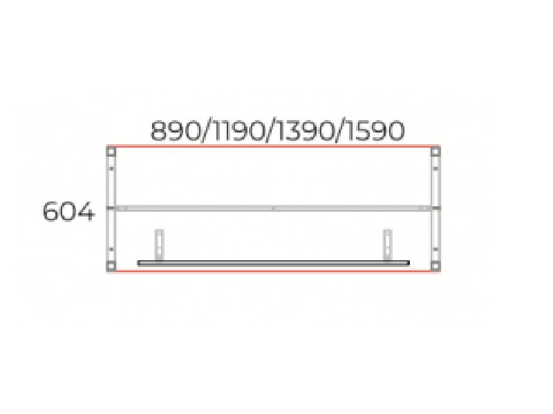 Íróasztal 604 mm-es mélységben homloklappal, IS-60-HL-COR
