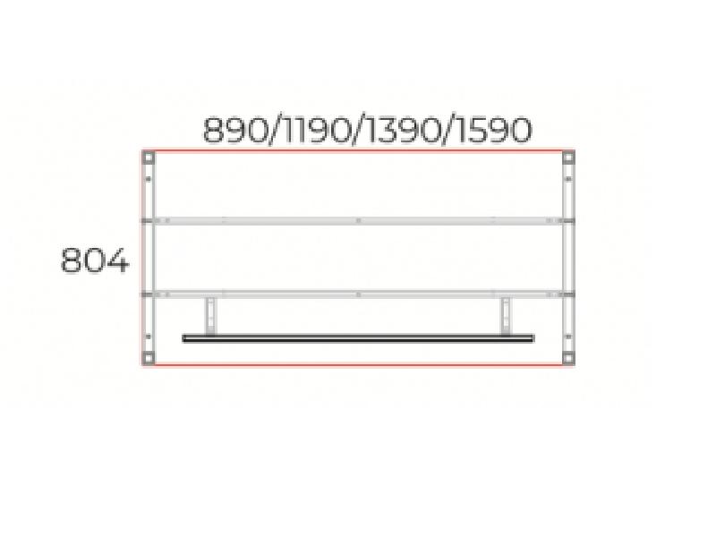 Íróasztal 804 mm-es mélységben homloklappal, IS-80-HL-COR