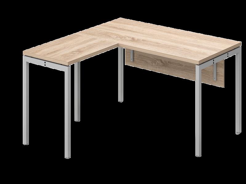 L alakú íróasztal csatlakozó elemmel, homloklappal, IS-160-HL-COR