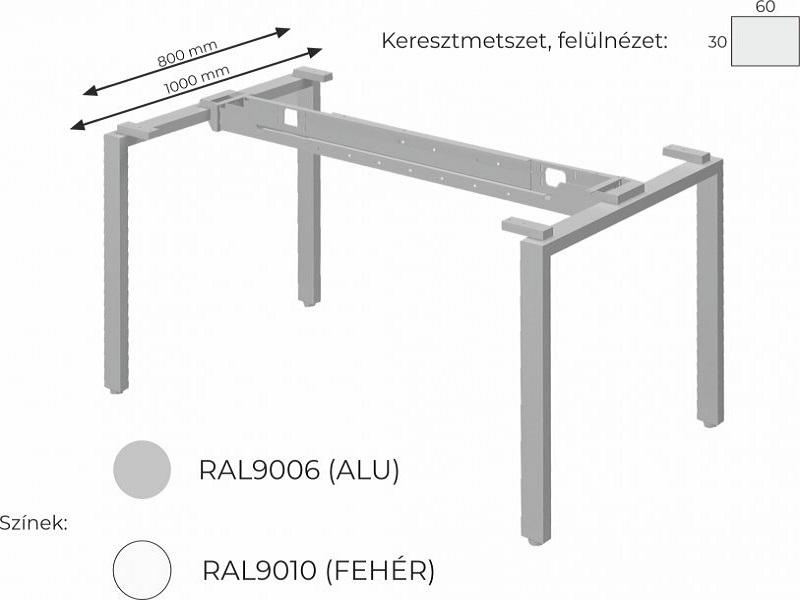 L-alakú íróasztal FL1 fémlábbal, HC-FL1