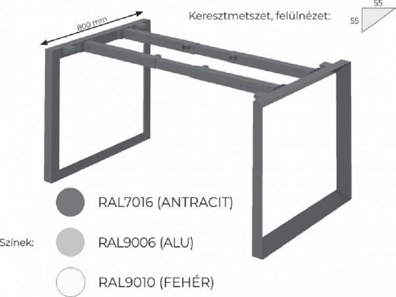 Íves íróasztal FL11 fémlábbal, IZ-FL11
