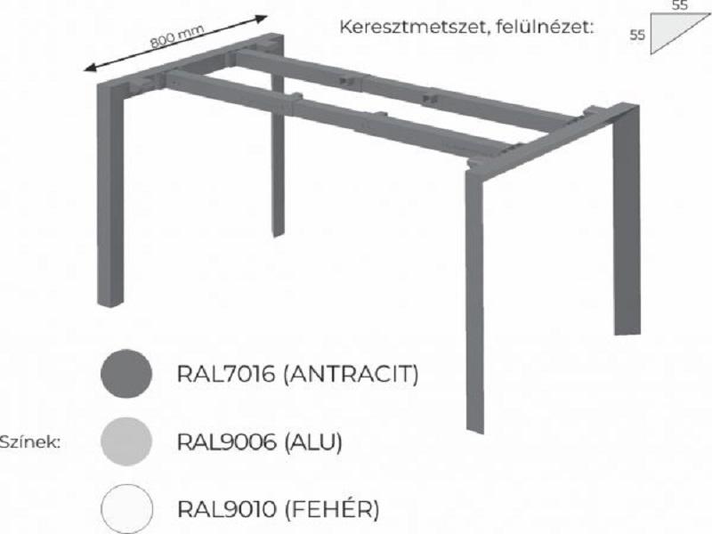 L-alakú íróasztal FL3 fémlábbal, HA-FL3