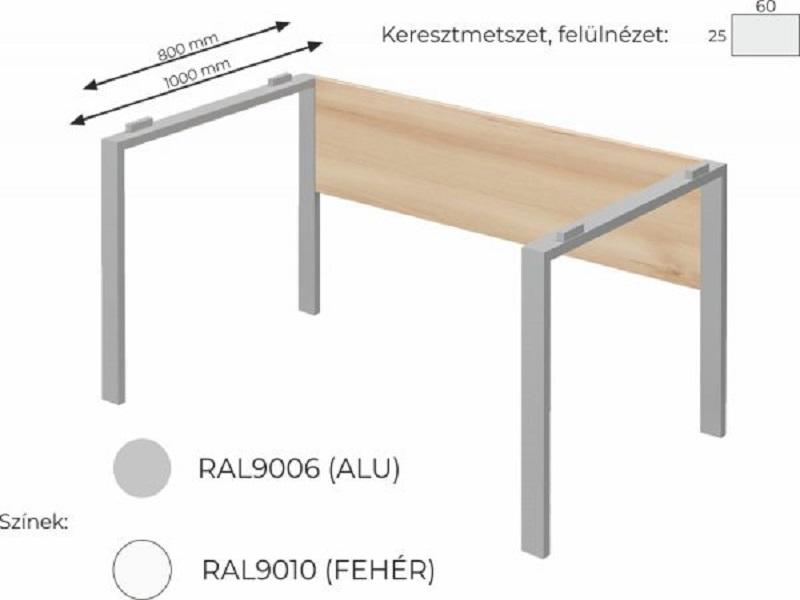 Vezetői íróasztal FL5 fémlábbal, homloklappal, IS-FL5