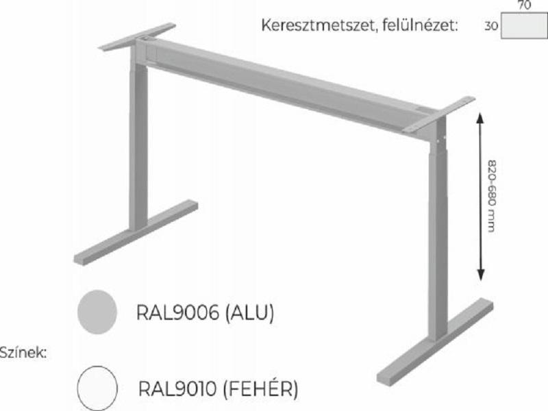 Állítható vezetői íves íróasztal FL6 fémlábbal, VE-FL6