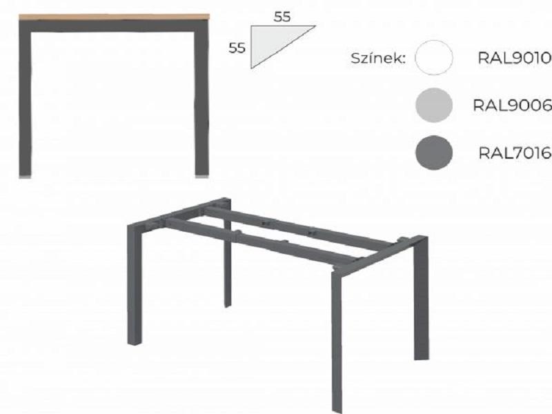 Sarkos íróasztal 804 mm-es mélységben, IS-80-TR